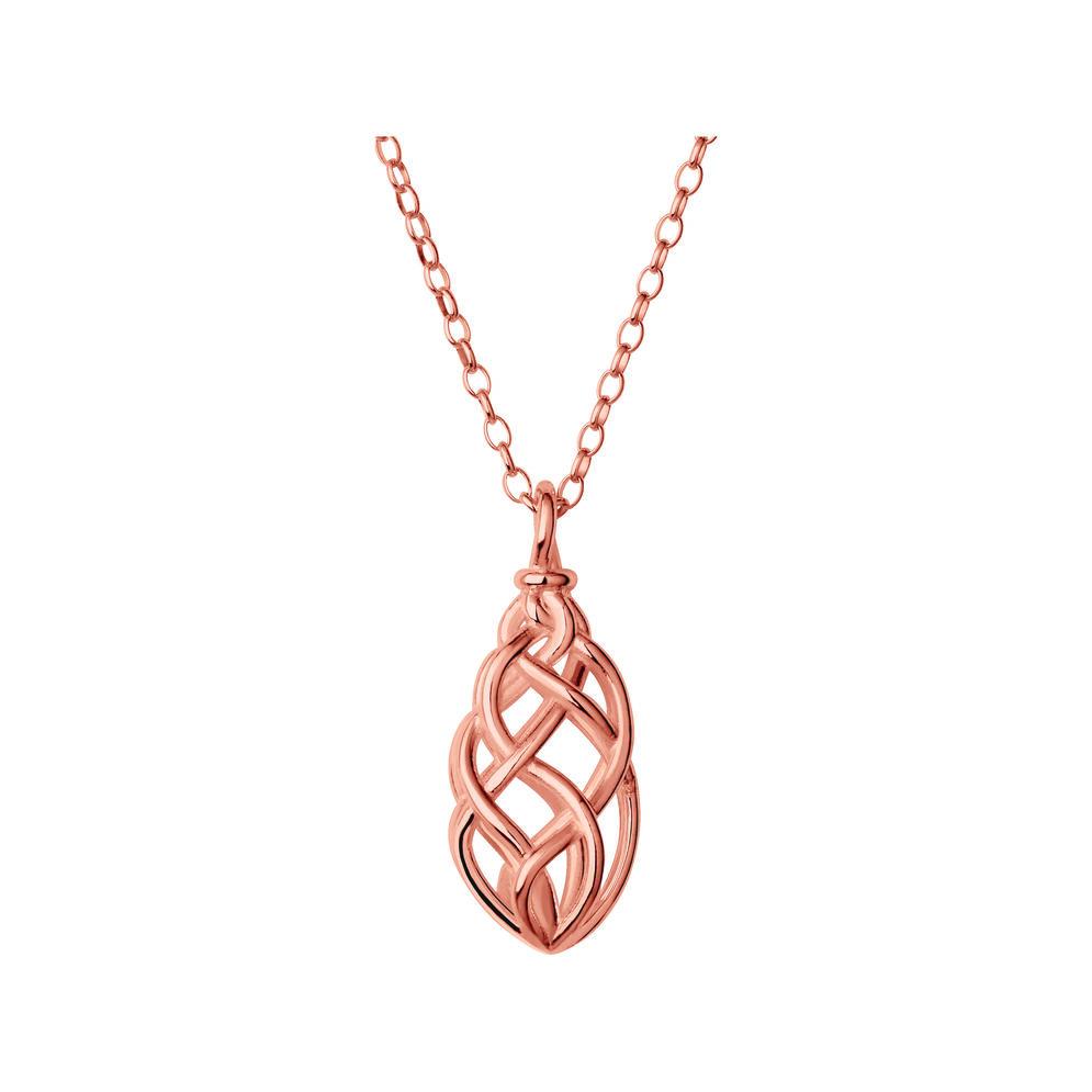 18K Rose Gold Vermeil Small Pendant Woven Necklace, , hires