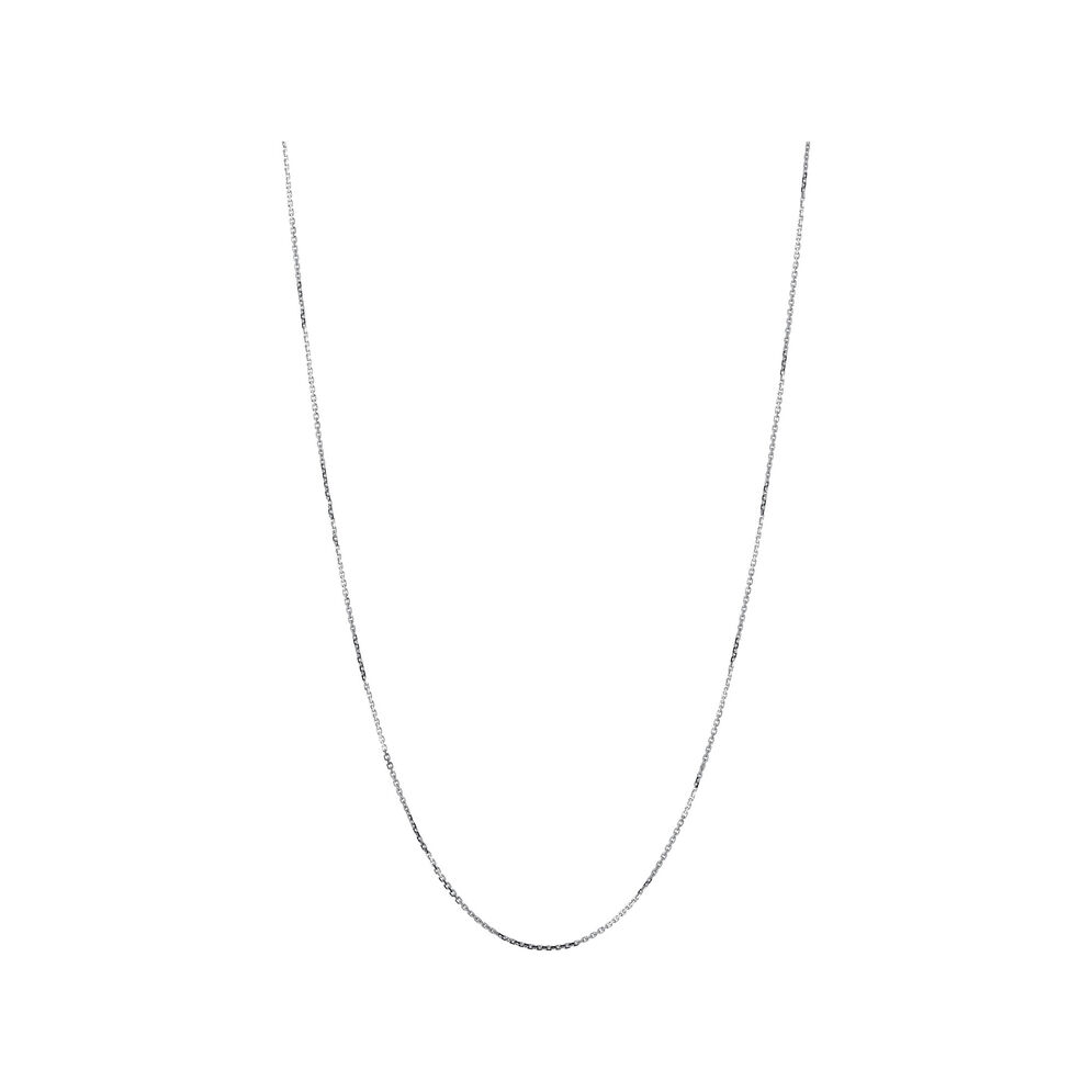 Essentials 18kt White Gold 1mm Cable Chain 45cm, , hires