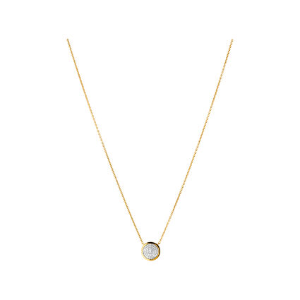 Diamond Essentials 18kt Yellow Gold Vermeil & Pave Round Necklace, , hires