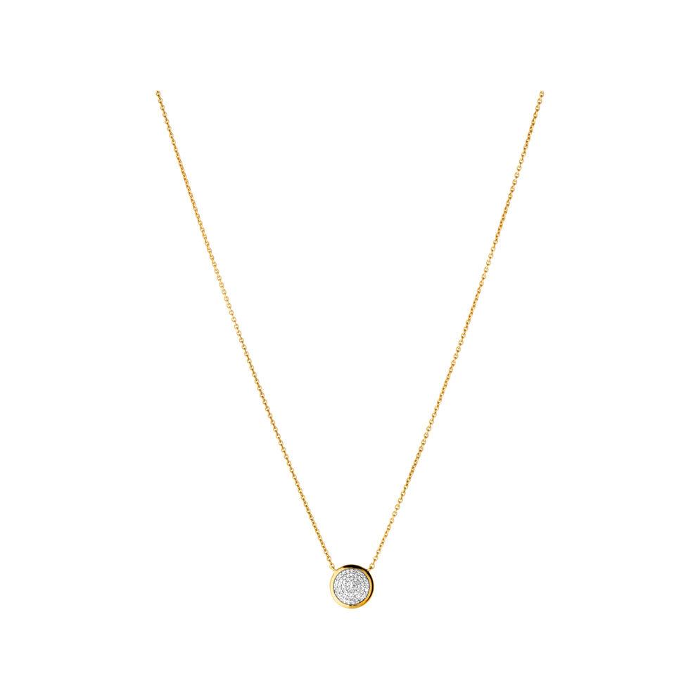 Diamond Essentials 18ct Yellow Gold Vermeil & Pave Round Necklace, , hires