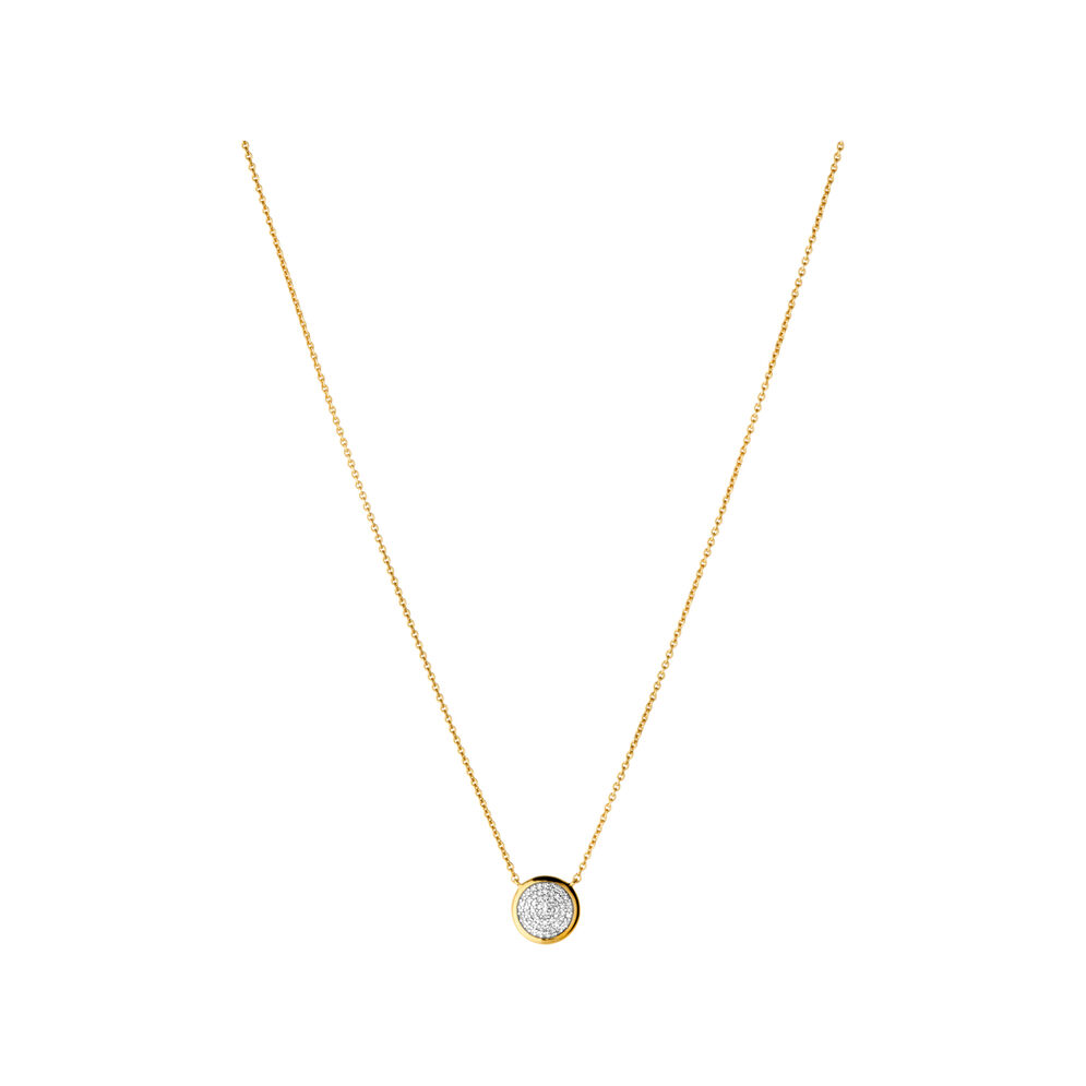 Diamond essentials yellow gold pave round necklace diamond essentials 18kt yellow gold vermeil amp pave round necklace mozeypictures Choice Image
