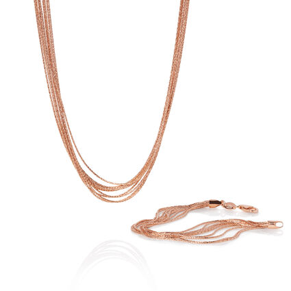 Essentials 18kt Rose Gold Vermeil Silk 10 Row Bracelet and 45cm Necklace Set, , hires