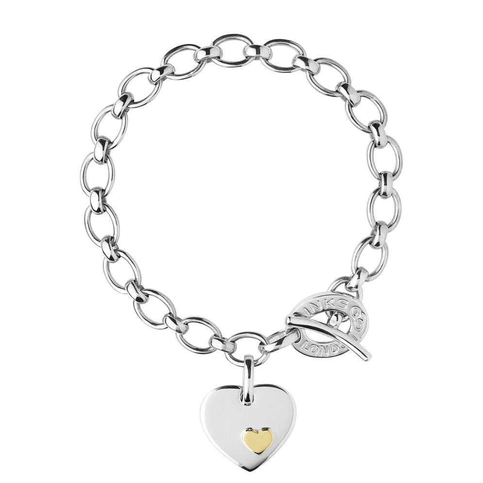 Sterling Silver Heart Disc Charm Bracelet, , hires