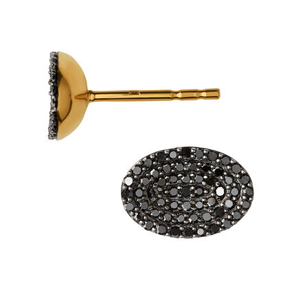 Concave 18K Yellow Gold Vermeil & Black Diamond Stud Earrings, , hires