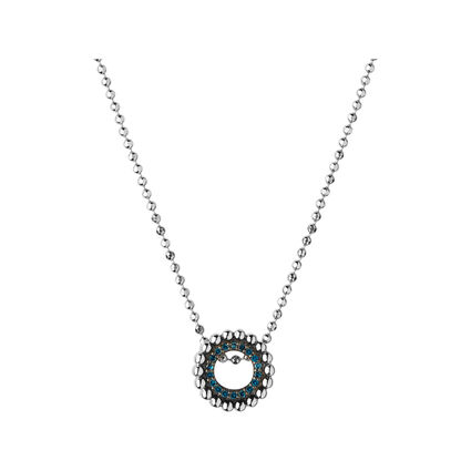 Effervescence Sterling Silver & Blue Diamond Mini Necklace, , hires