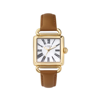 Driver Womens White Mother of Pearl & Tan Leather Watch, , hires