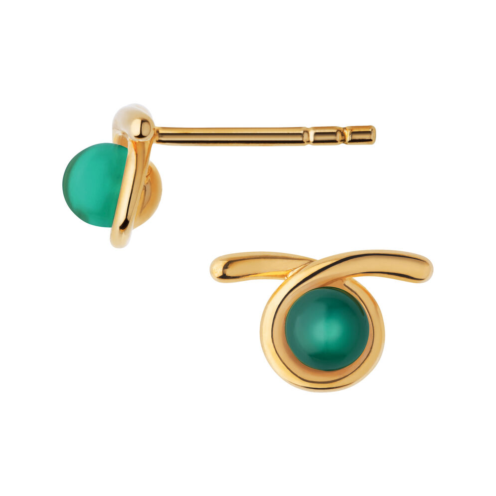 Serpentine 18kt Yellow Gold Vermeil & Green Chalcedony Gemstone Stud Earrings, , hires