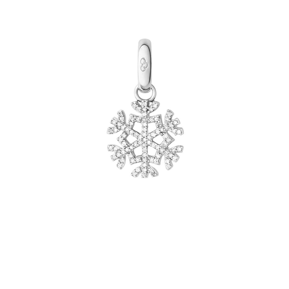 Sterling Silver & Diamond Pave Snowflake Charm, , hires