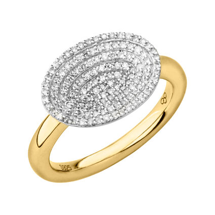 Concave 18kt Yellow Gold Vermeil & Diamond Ring, , hires