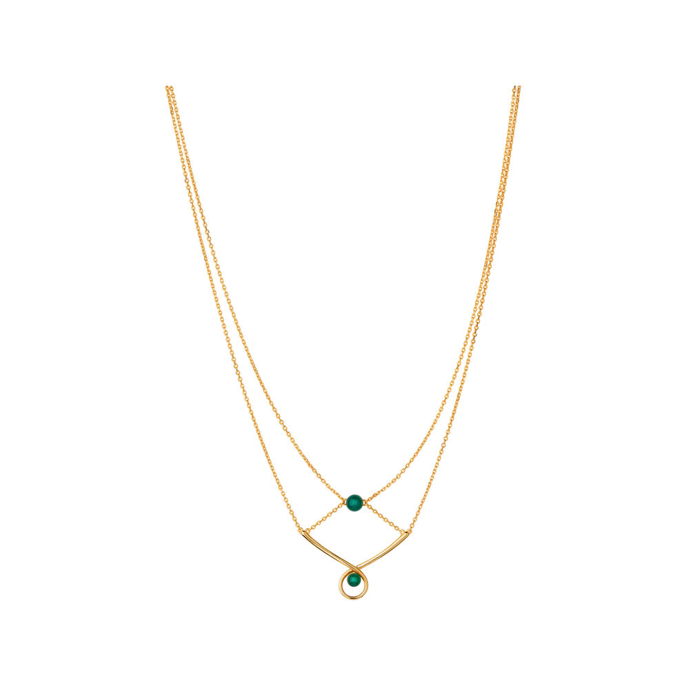 Serpentine 18kt Yellow Gold Vermeil & Green Chalcedony Gemstone Double Necklace, , hires