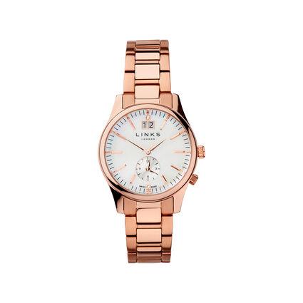 Regent Womens Rose Gold Plate Bracelet Watch, , hires