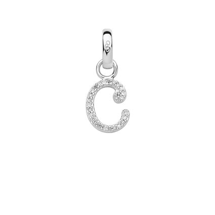 Sterling Silver & Diamond Letter C Charm, , hires