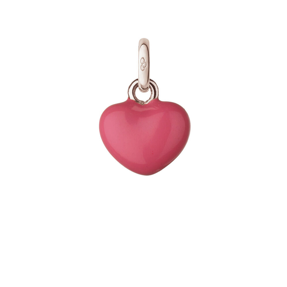Sterling Silver & Pink Mini Heart Charm, , hires