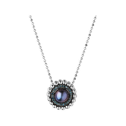 Effervescence Sterling Silver, Blue Diamond & Pearl Necklace, , hires