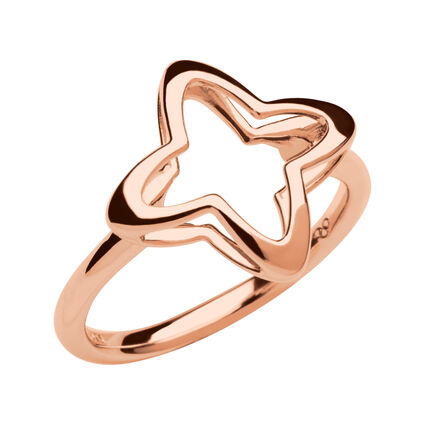 Splendour 18kt Rose Gold Vermeil Open Four Point Star Ring