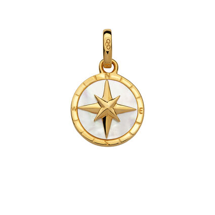 18K Yellow Gold Vermeil & Mother of Pearl Compass Charm, , hires