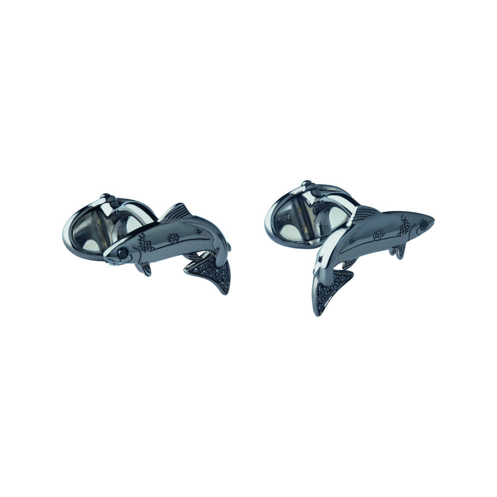 25 Years Ruthenium & Black Diamond Salmon Cufflinks, , hires