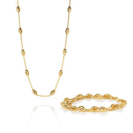 Essentials 18kt Yellow Gold Vermeil Beaded Chain 3 Row Bracelet & Beaded 60cm Necklace Set, , hires