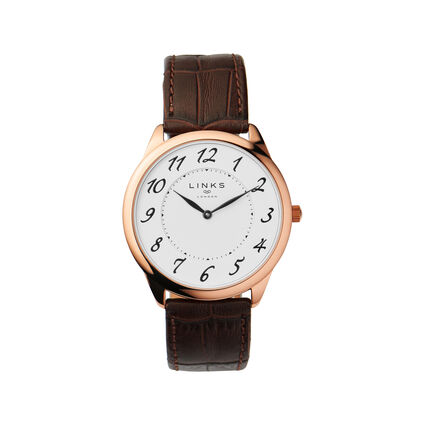 Narrative Mens Rose Gold & Brown Leather Strap Watch, , hires
