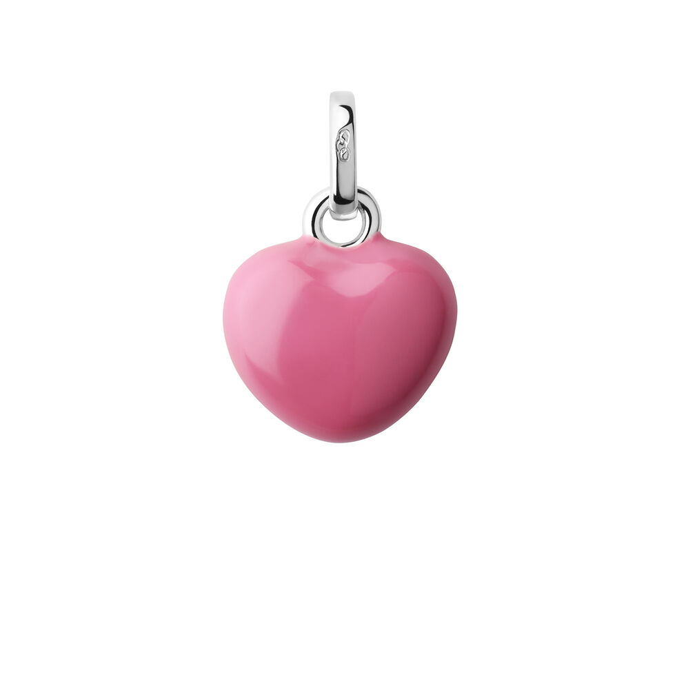 Sterling Silver & Pink Enamel Mini Heart Charm, , hires