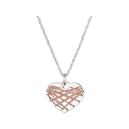 Dream Catcher Sterling Silver Rose Gold Heart Necklace, , hires