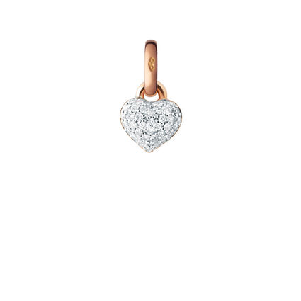 18kt Rose Gold & Diamond Pave Mini Heart Charm, , hires