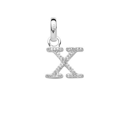 Sterling Silver & Diamond X Alphabet Charm, , hires