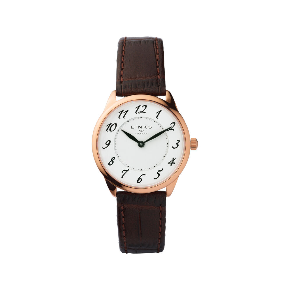 Narrative Womens Rose Gold Plate & Brown Leather Watch, , hires
