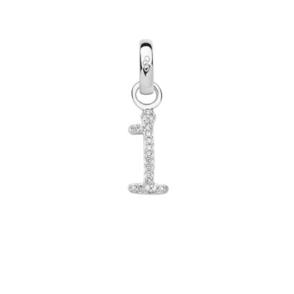 Sterling Silver & Diamond I Alphabet Charm, , hires
