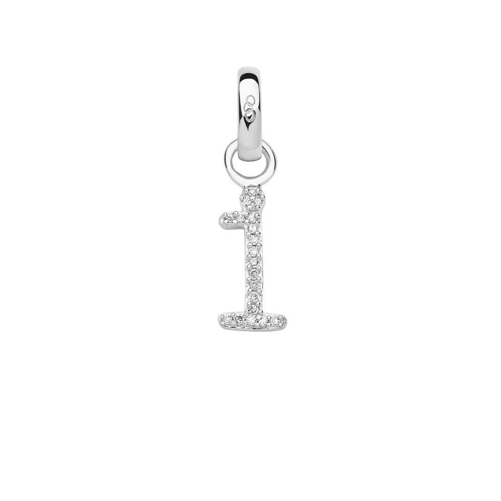 Sterling Silver & Diamond I Alphabet Charm, , hires