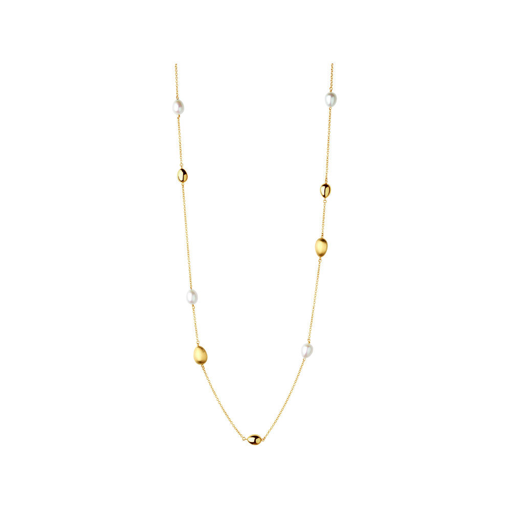 Hope 18kt Yellow Gold & Pearl Station Necklace, , hires