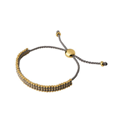 18kt Yellow Gold Vermeil, Mink & Gold Glitter Mini Friendship Bracelet, , hires