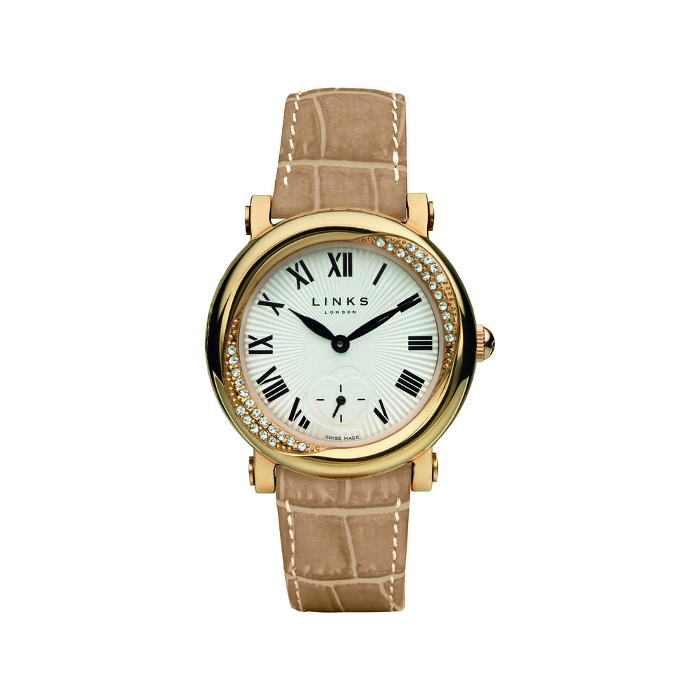 Kindred Soul Stainless Steel Beige Leather Watch, , hires