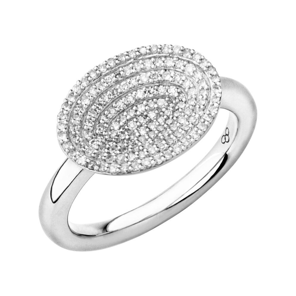 Concave Sterling Silver & Diamond Ring, , hires