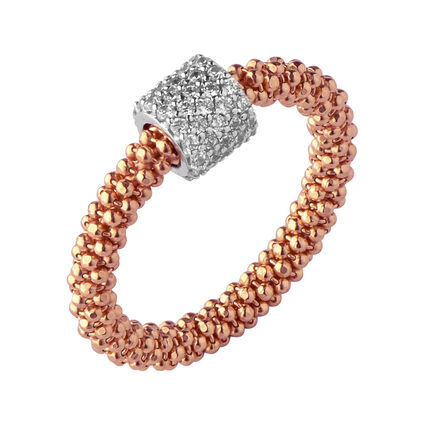 Star Dust Rose Gold Plate Bead Ring, , hires