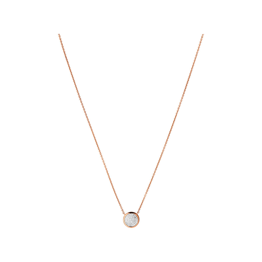 Diamond Essentials 18kt Rose Gold Vermeil & Pave Round Necklace, , hires