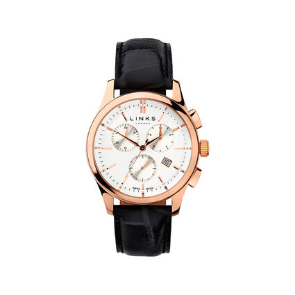 Regent Mens Rose Gold Plate & Black Leather Chronograph Watch, , hires