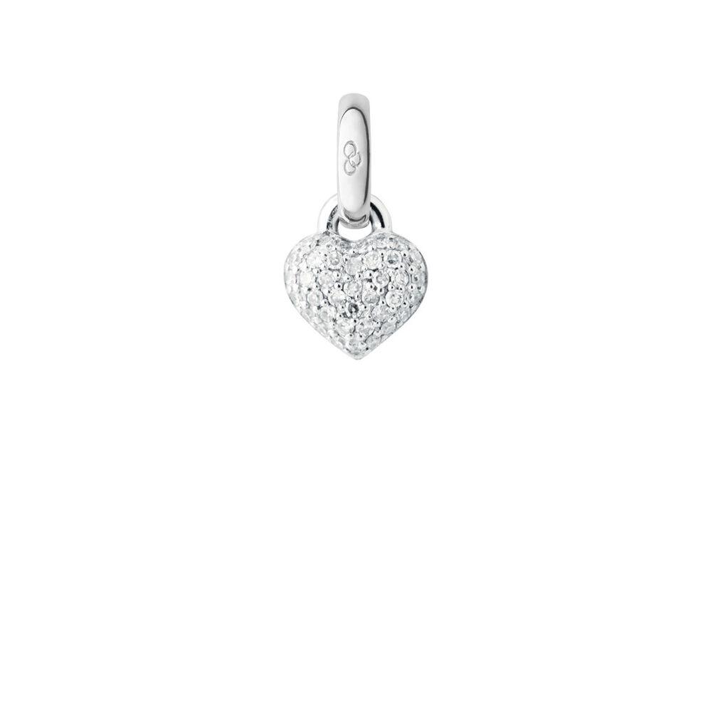 18ct White Gold & Diamond Mini Pave Heart Charm, , hires