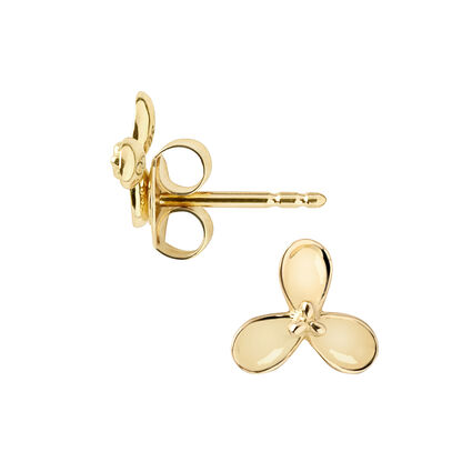 Night Time Garden Dawn 18ct Yellow GoldStud Flower Earrings, , hires