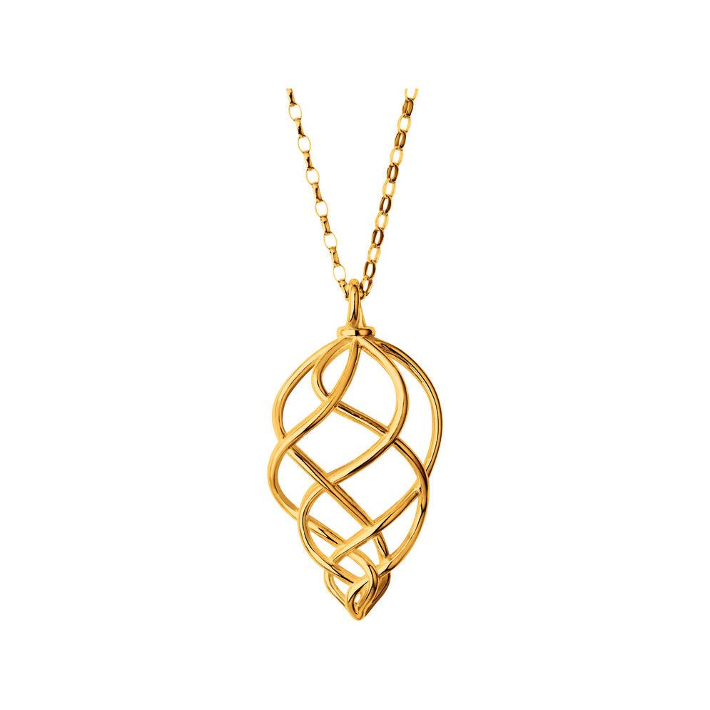 18K Yellow Gold Vermeil Large Pendant Woven Necklace, , hires