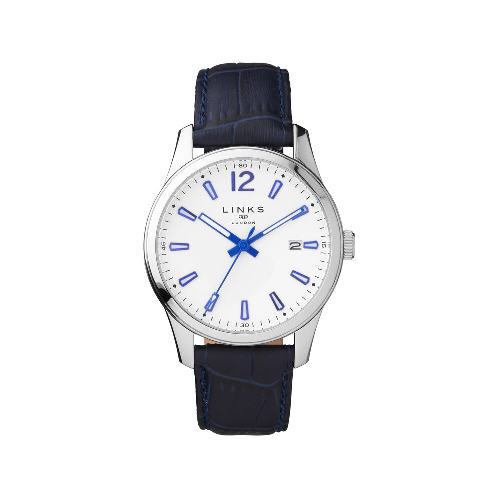 Greenwich Noon Mens Stainless Steel & Blue Leather Watch, , hires