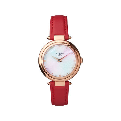 Timeless Rose Gold Tone, Mother of Pearl & Red Leather Watch, , hires