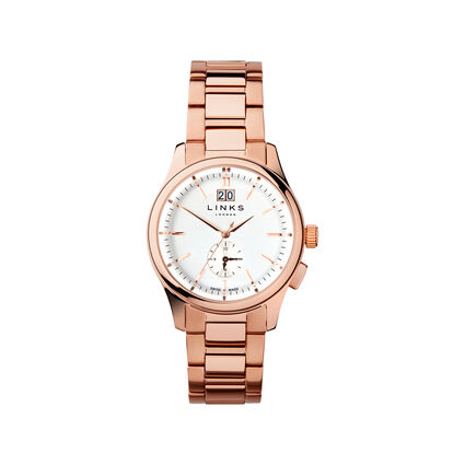 Regent Mens Rose Gold Plate Bracelet Watch, , hires