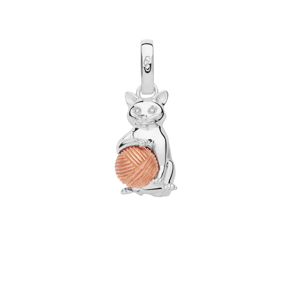 Sterling Silver & Rose Gold Vermeil Larry the Cat Charm, , hires
