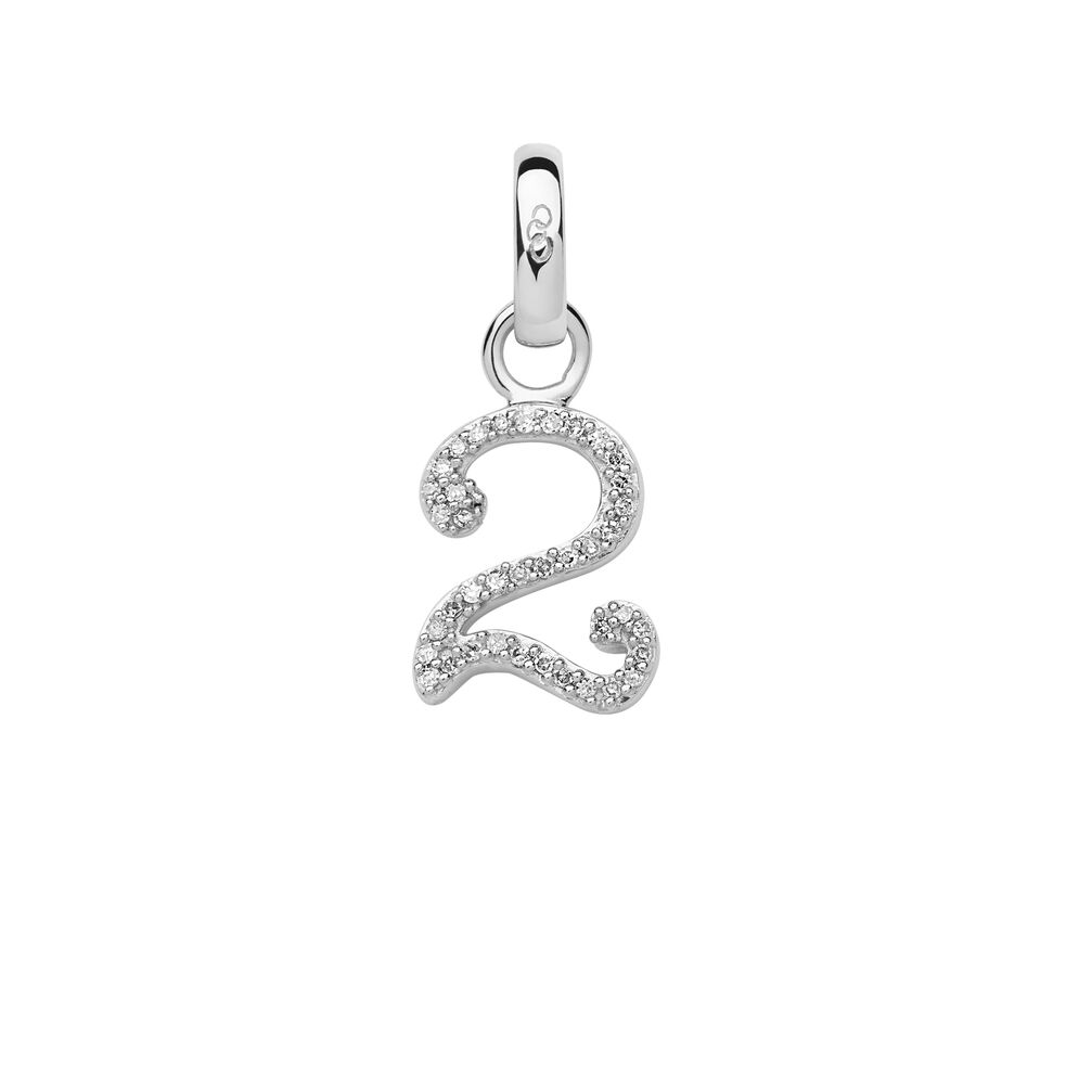 Sterling Silver & Diamond Number 2 Charm, , hires