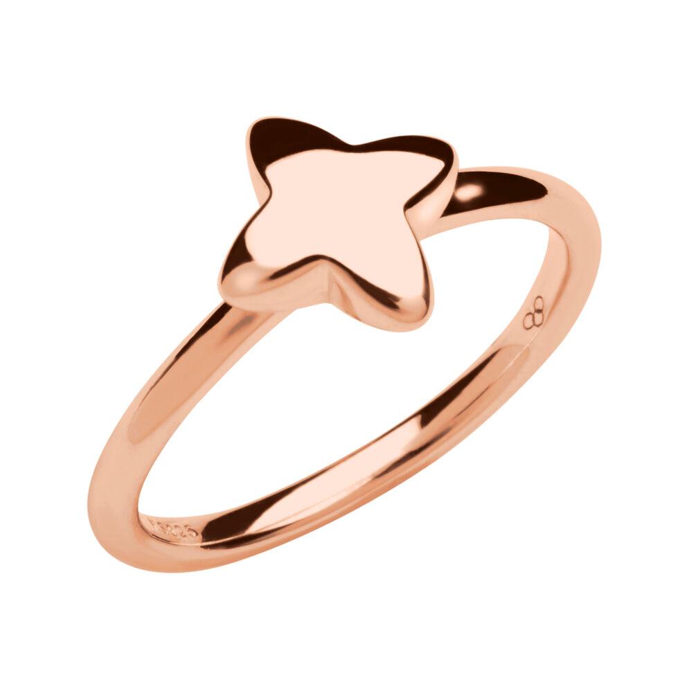 Splendour 18kt Rose Gold Vermeil Four-Point Star Mini Ring, , hires