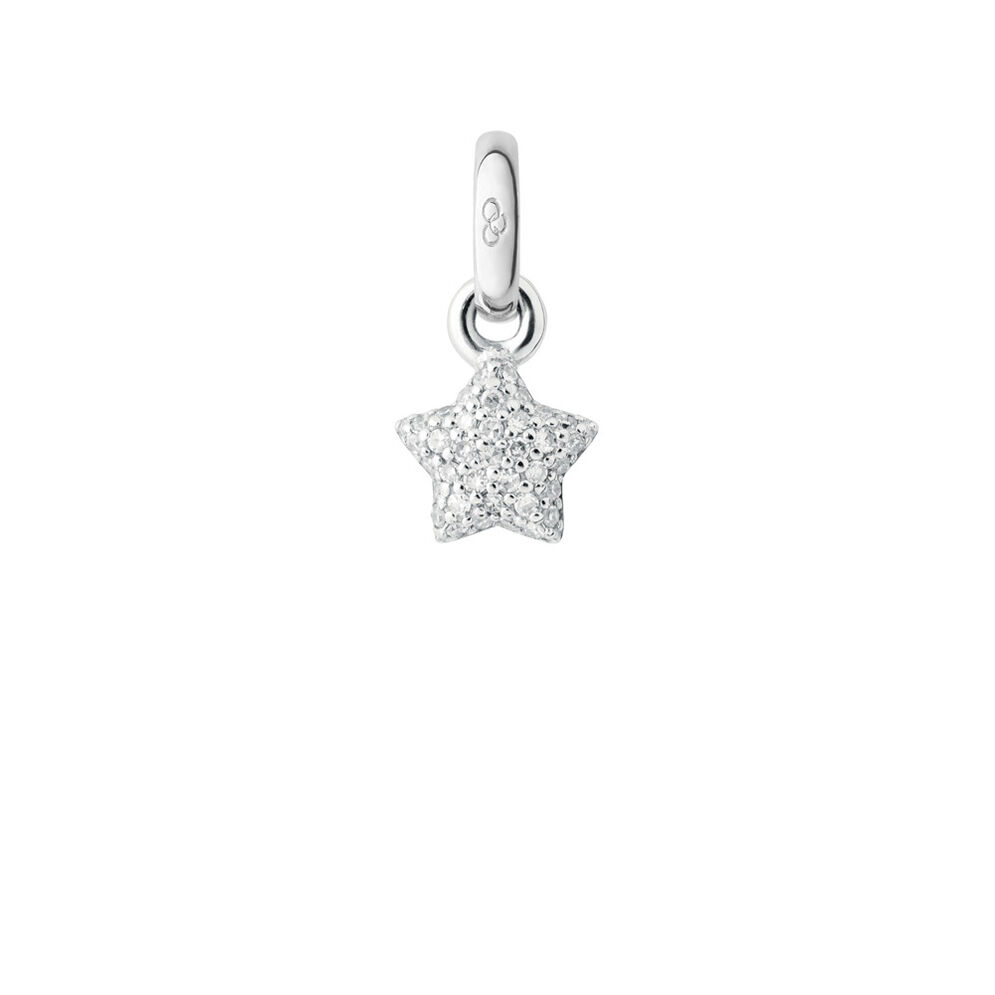 18K White Gold & Diamond Pave Mini Star Charm, , hires