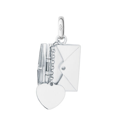 Sterling Silver Sealed With A Kiss Envelope Charm, , hires