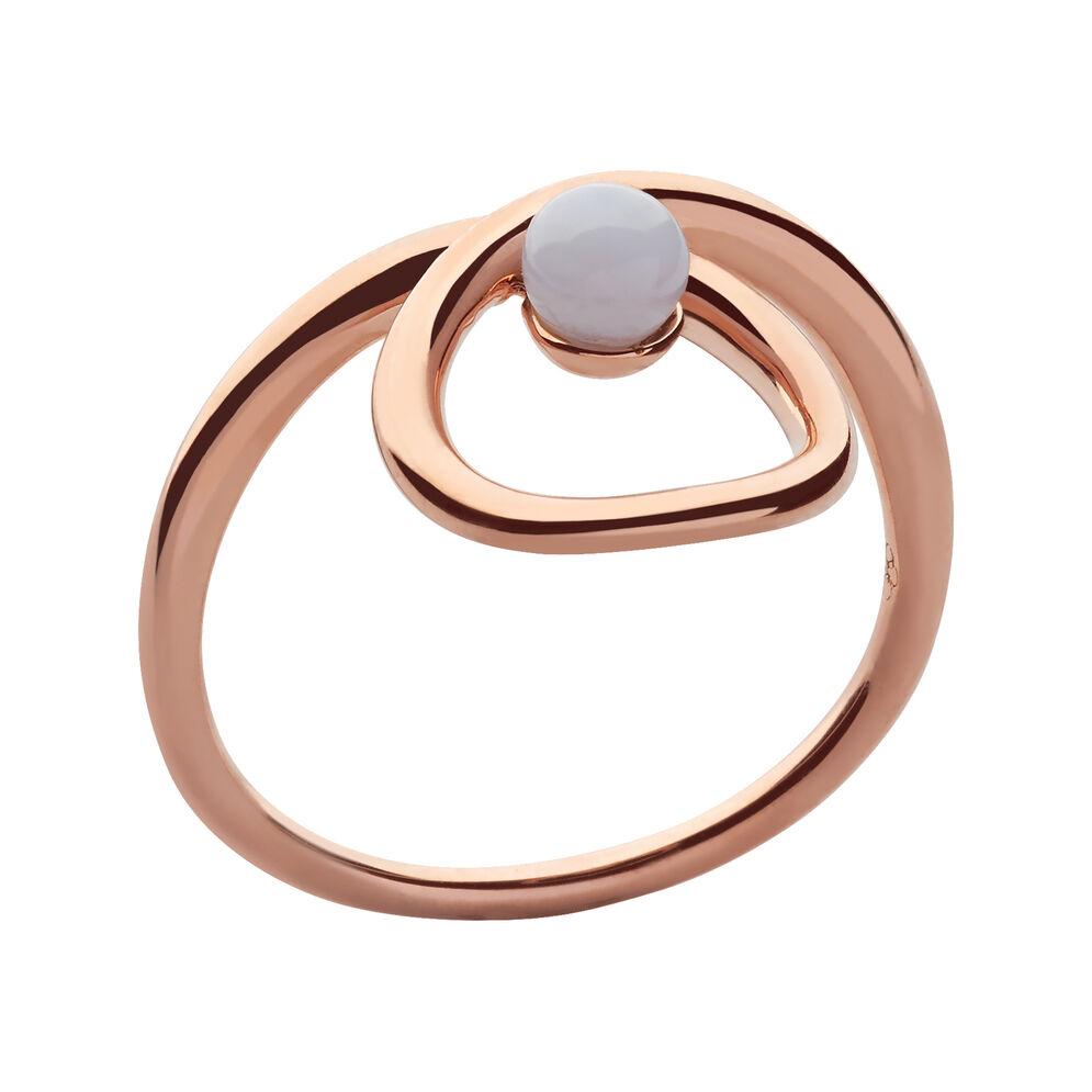 Serpentine 18kt Rose Gold Vermeil & Blue Lace Agate Gemstone Ring, , hires