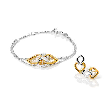 18K Yellow Gold Vermeil & Sterling Silver Infinite Love Bracelet and Earrings Set, , hires